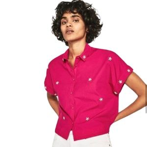 2/$20 Zara Cropped Blouse with Pearls Hot Pink M